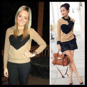 j. crew // heart me wool cashmere tan knit sweater